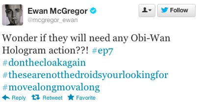 Even Ewan McGregor fed the frenzy for a while. (image source: Twitter)