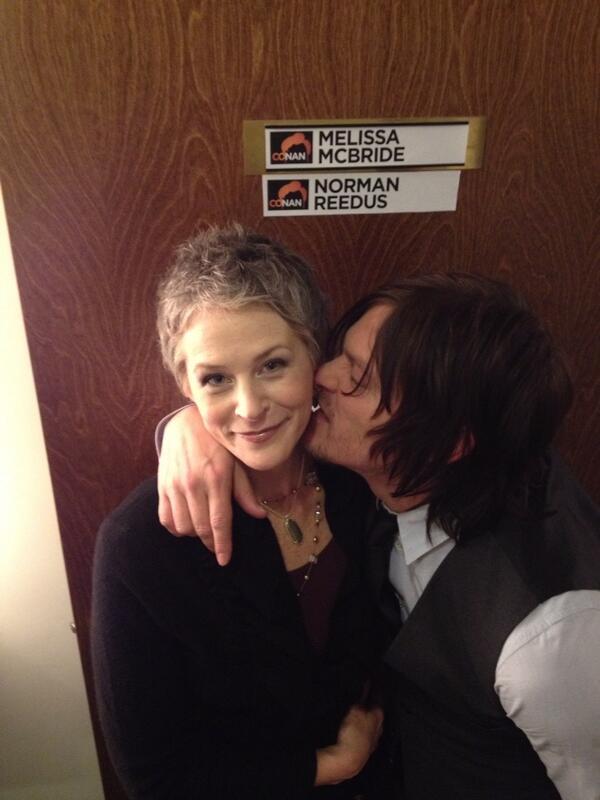 "Melissa McBride tweets ""Conan Tonight!"" with a photo of her and her castmate Norman Reedus. Image Source: @mcbridemelissa on Twitter"