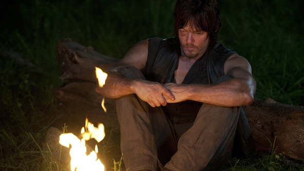 Daryl contemplates how he could have possibly gotten stuck with Beth. Image Source: AMC